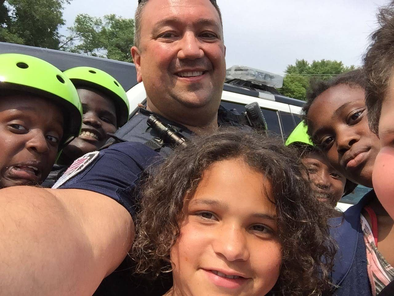 Winooski School Resource Officer and Students at School